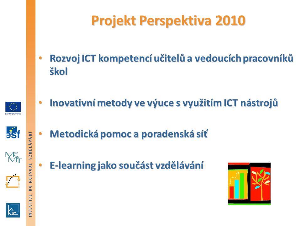 INVESTICE DO ROZVOJE VZDĚLÁVÁNÍ Projekt Perspektiva 2010 Rozvoj ICT kompetencí učitelů a vedoucích pracovníků škol Rozvoj ICT kompetencí učitelů a vedoucích pracovníků škol Inovativní metody ve výuce s využitím ICT nástrojů Inovativní metody ve výuce s využitím ICT nástrojů Metodická pomoc a poradenská síť Metodická pomoc a poradenská síť E-learning jako součást vzdělávání E-learning jako součást vzdělávání