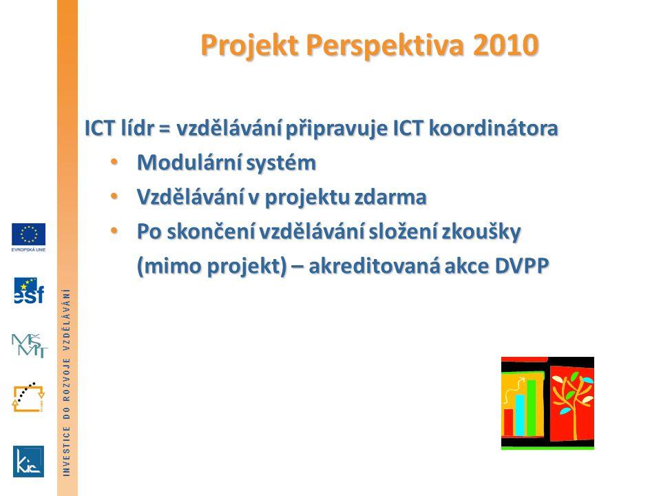 INVESTICE DO ROZVOJE VZDĚLÁVÁNÍ Projekt Perspektiva 2010 ICT lídr = vzdělávání připravuje ICT koordinátora Modulární systém Modulární systém Vzdělávání v projektu zdarma Vzdělávání v projektu zdarma Po skončení vzdělávání složení zkoušky Po skončení vzdělávání složení zkoušky (mimo projekt) – akreditovaná akce DVPP