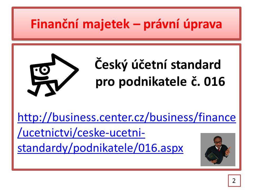 Finanční majetek – právní úprava Český účetní standard pro podnikatele č.
