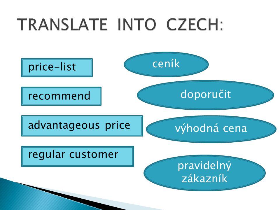 price-list recommend advantageous price regular customer ceník doporučit výhodná cena pravidelný zákazník