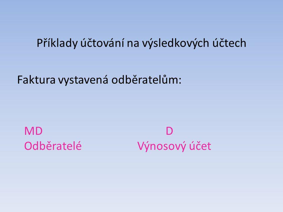 Příklady účtování na výsledkových účtech Faktura vystavená odběratelům: MDD OdběrateléVýnosový účet