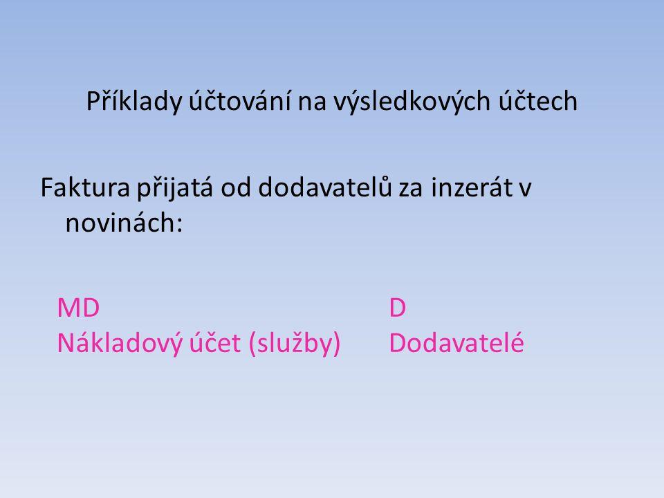 Příklady účtování na výsledkových účtech Faktura přijatá od dodavatelů za inzerát v novinách: MDD Nákladový účet (služby)Dodavatelé