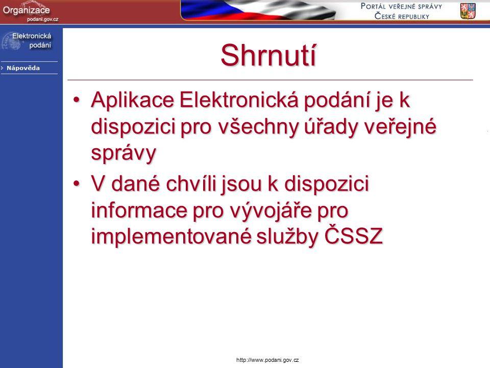 http://www.podani.gov.cz Shrnutí Aplikace Elektronická podání je k dispozici pro všechny úřady veřejné správyAplikace Elektronická podání je k dispozi