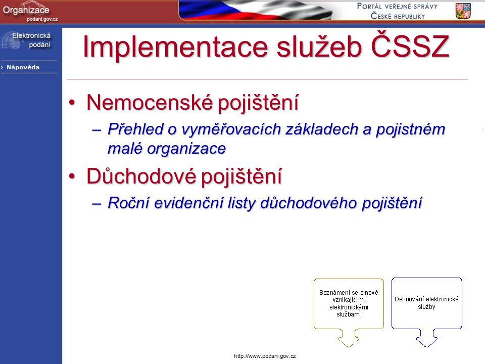 http://www.podani.gov.cz Implementace služeb ČSSZ Nemocenské pojištěníNemocenské pojištění –Přehled o vyměřovacích základech a pojistném malé organiza