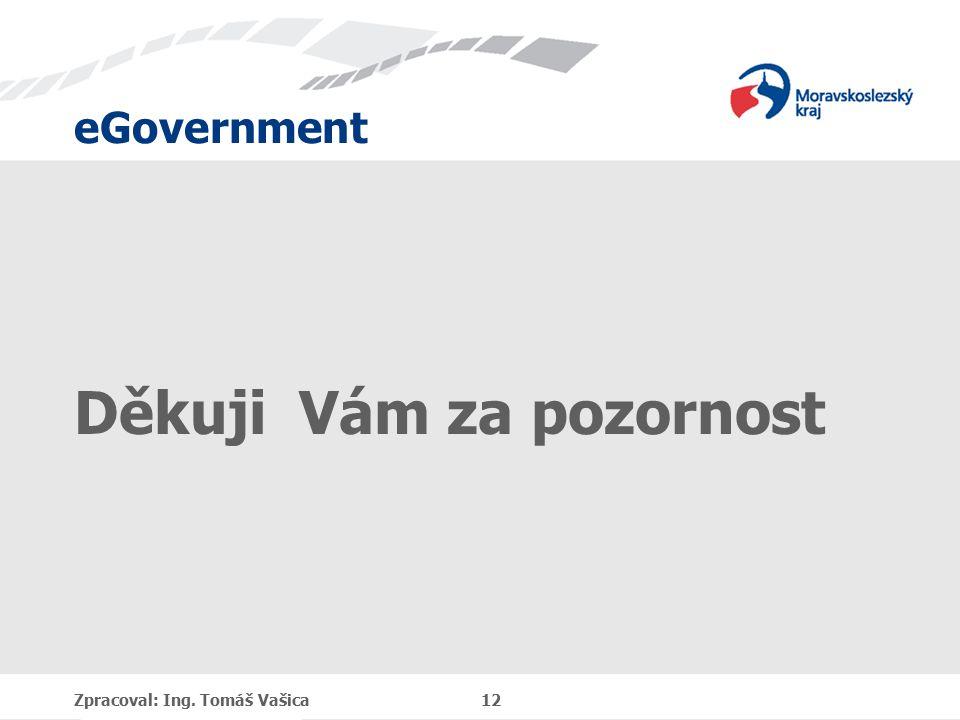eGovernment Děkuji Vám za pozornost Zpracoval: Ing. Tomáš Vašica 12