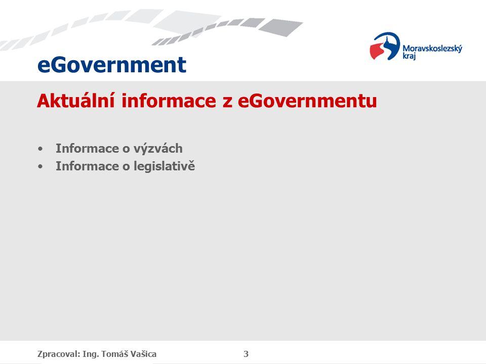 eGovernment Aktuální informace z eGovernmentu Informace o výzvách Informace o legislativě Zpracoval: Ing.