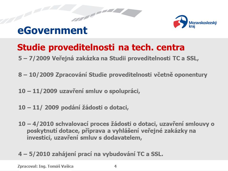 eGovernment Studie proveditelnosti na tech. centra 5 – 7/2009 Veřejná zakázka na Studii proveditelnosti TC a SSL, 8 – 10/2009 Zpracování Studie proved