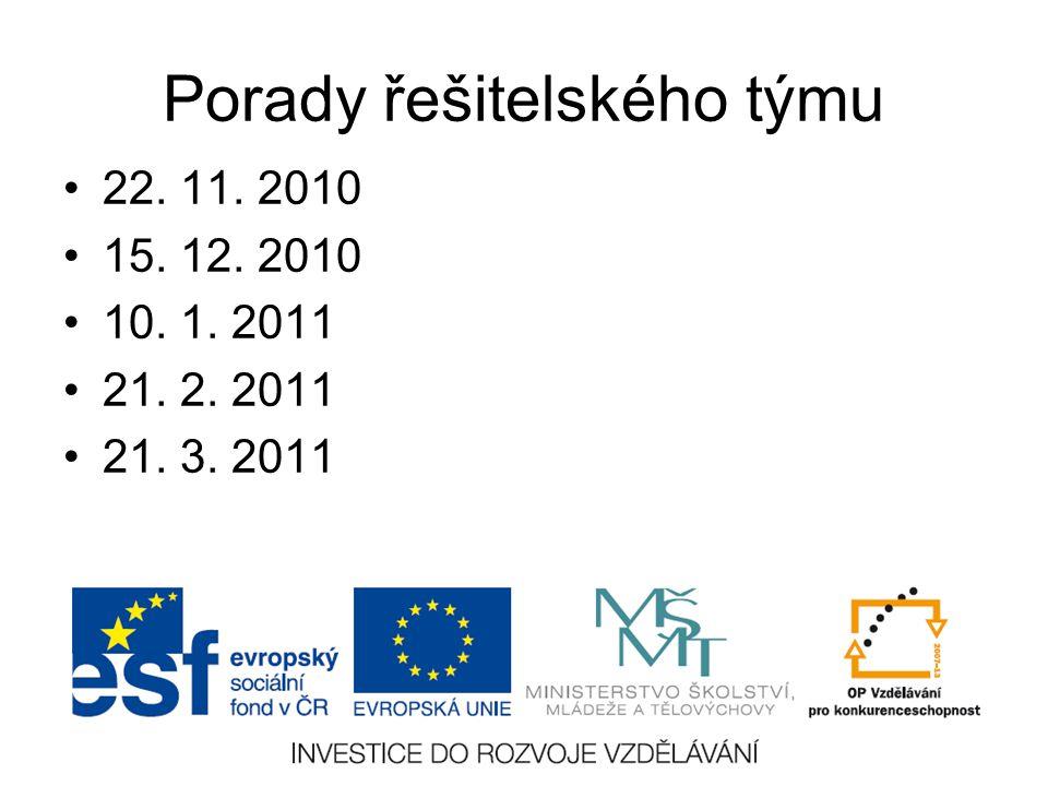 Porady řešitelského týmu 22. 11. 2010 15. 12. 2010 10. 1. 2011 21. 2. 2011 21. 3. 2011