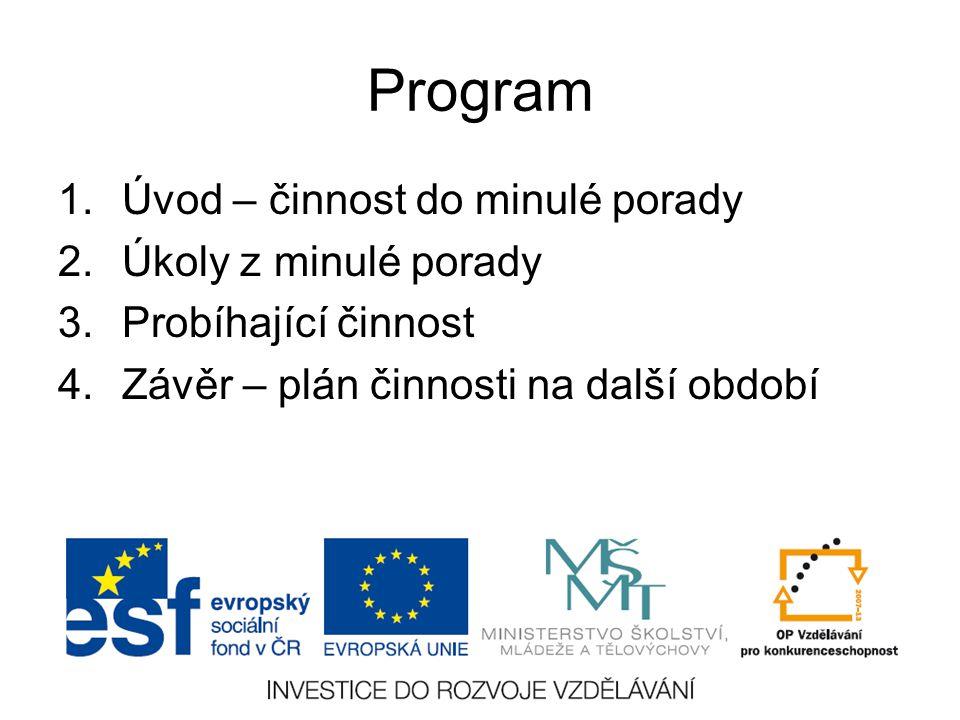 Program 1.Úvod – činnost do minulé porady 2.Úkoly z minulé porady 3.Probíhající činnost 4.Závěr – plán činnosti na další období