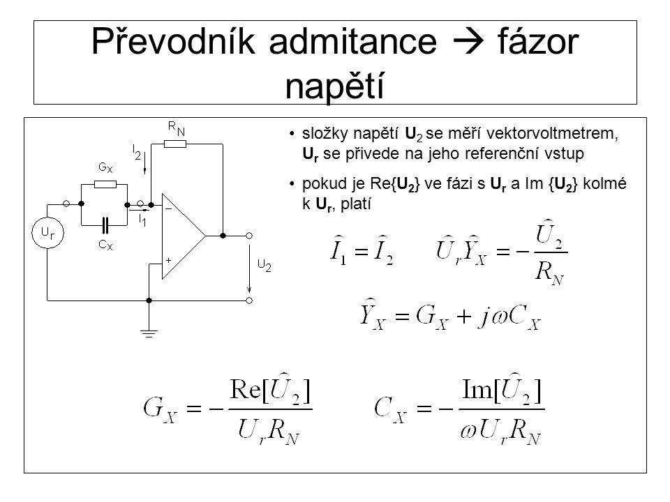 Převodník admitance  fázor napětí složky napětí U 2 se měří vektorvoltmetrem, U r se přivede na jeho referenční vstup pokud je Re{U 2 } ve fázi s U r