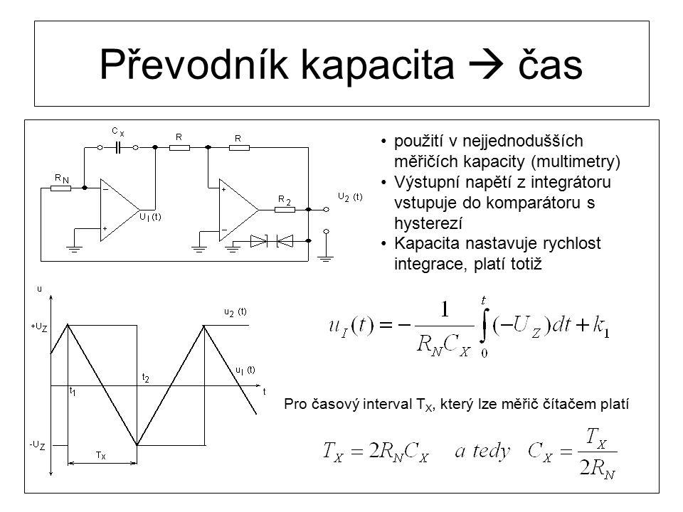 Převodník kapacita  čas použití v nejjednodušších měřičích kapacity (multimetry) Výstupní napětí z integrátoru vstupuje do komparátoru s hysterezí Ka