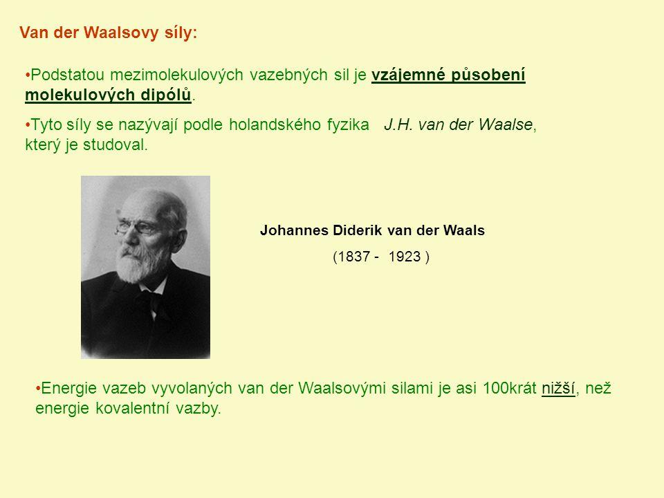 Van der Waalsovy síly: Johannes Diderik van der Waals (1837 - 1923 ) Podstatou mezimolekulových vazebných sil je vzájemné působení molekulových dipólů
