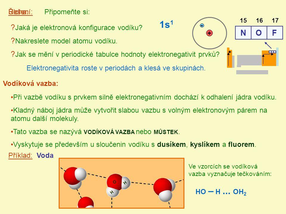 Vodíková vazba: Připomeňte si:Úloha:Řešení: ? Jaká je elektronová konfigurace vodíku? ? Nakreslete model atomu vodíku. ? Jak se mění v periodické tabu