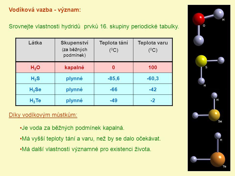 Úloha:S pomocí znalostí o vodíkové vazbě popište a vysvětlete tento graf: 100 0 -100 -200 2345 H2OH2O H2SH2S H 2 Se H 2 TeHF HCl HBr HINH 3 PH 3 AsH 3 SbH 3 CH 4 SiH 4 GeH 4 SnH 4 t V ( 0 C) n Teploty varu hydridů prvků 14., 15., 16.