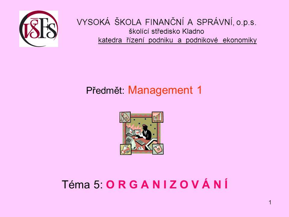 1 Předmět: Management 1 Téma 5: O R G A N I Z O V Á N Í VYSOKÁ ŠKOLA FINANČNÍ A SPRÁVNÍ, o.p.s.