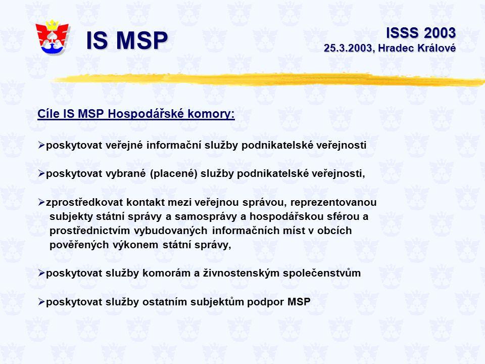 Cíle IS MSP Hospodářské komory:  poskytovat veřejné informační služby podnikatelské veřejnosti  poskytovat vybrané (placené) služby podnikatelské veřejnosti,  zprostředkovat kontakt mezi veřejnou správou, reprezentovanou subjekty státní správy a samosprávy a hospodářskou sférou a prostřednictvím vybudovaných informačních míst v obcích pověřených výkonem státní správy,  poskytovat služby komorám a živnostenským společenstvům  poskytovat služby ostatním subjektům podpor MSP ISSS 2003 25.3.2003, Hradec Králové IS MSP