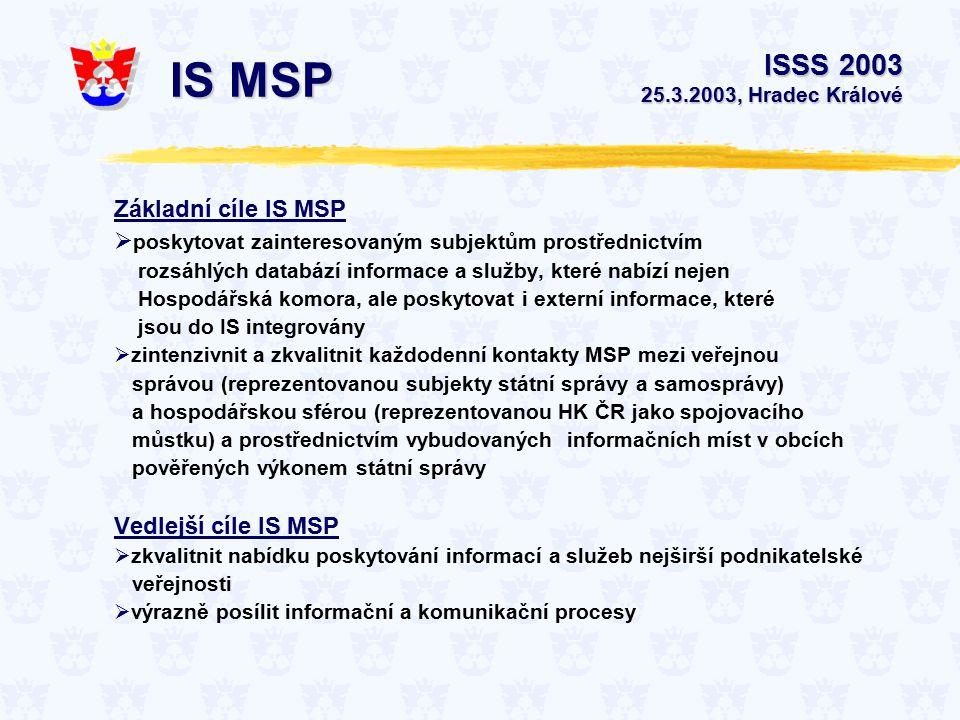 Základní cíle IS MSP  poskytovat zainteresovaným subjektům prostřednictvím rozsáhlých databází informace a služby, které nabízí nejen Hospodářská komora, ale poskytovat i externí informace, které jsou do IS integrovány  zintenzivnit a zkvalitnit každodenní kontakty MSP mezi veřejnou správou (reprezentovanou subjekty státní správy a samosprávy) a hospodářskou sférou (reprezentovanou HK ČR jako spojovacího můstku) a prostřednictvím vybudovaných informačních míst v obcích pověřených výkonem státní správy Vedlejší cíle IS MSP  zkvalitnit nabídku poskytování informací a služeb nejširší podnikatelské veřejnosti  výrazně posílit informační a komunikační procesy ISSS 2003 25.3.2003, Hradec Králové IS MSP