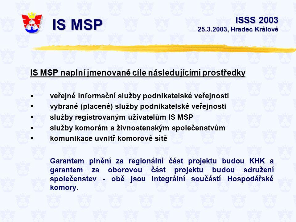 ISSS 2003 25.3.2003, Hradec Králové IS MSP IS MSP naplní jmenované cíle následujícími prostředky  veřejné informační služby podnikatelské veřejnosti