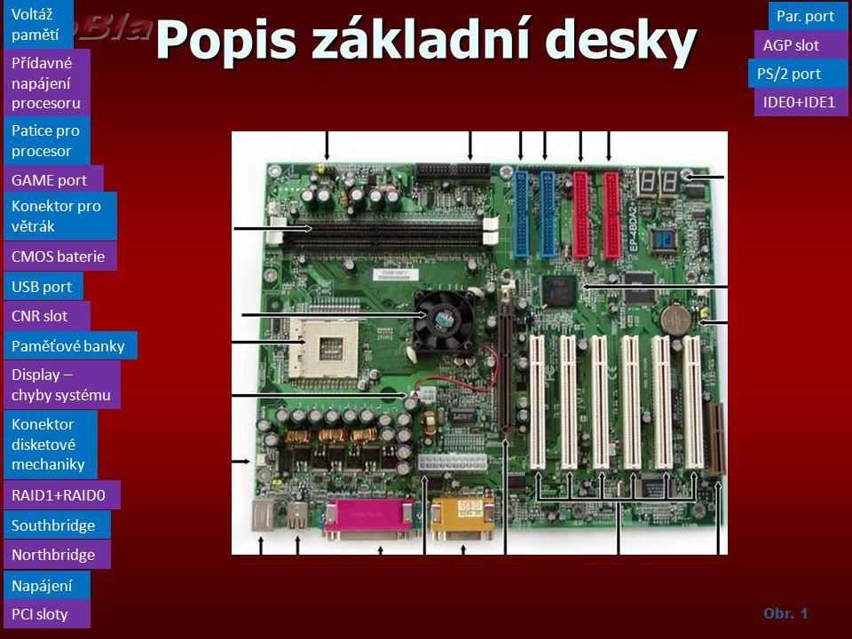 Popis základní desky Voltáž pamětí Přídavné napájení procesoru PCI sloty Northbridge Par.