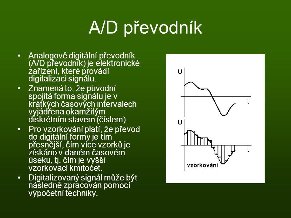 A/D převodník Analogově digitální převodník (A/D převodník) je elektronické zařízení, které provádí digitalizaci signálu. Znamená to, že původní spoji