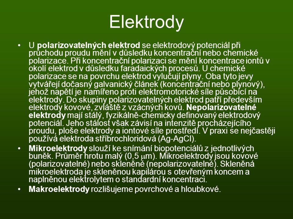 Elektrody U polarizovatelných elektrod se elektrodový potenciál při průchodu proudu mění v důsledku koncentrační nebo chemické polarizace. Při koncent