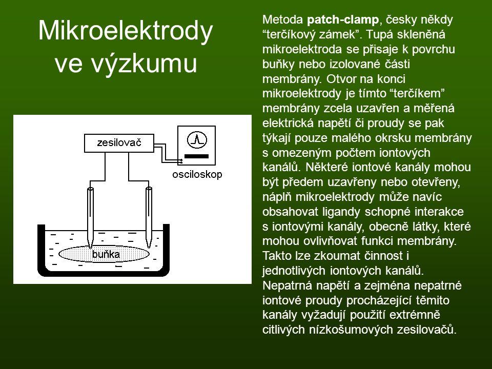"""Mikroelektrody ve výzkumu Metoda patch-clamp, česky někdy """"terčíkový zámek"""". Tupá skleněná mikroelektroda se přisaje k povrchu buňky nebo izolované čá"""