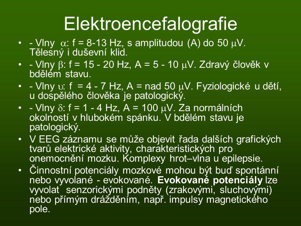Elektroencefalografie - Vlny  : f = 8-13 Hz, s amplitudou (A) do 50  V. Tělesný i duševní klid. - Vlny  : f = 15 - 20 Hz, A = 5 - 10  V. Zdravý čl