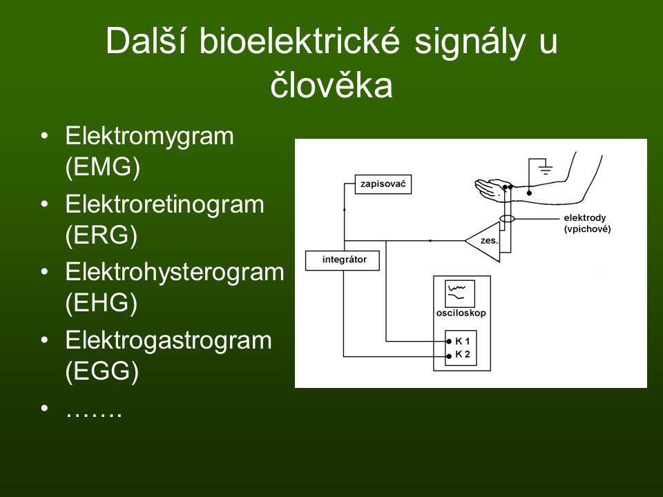 Další bioelektrické signály u člověka Elektromygram (EMG) Elektroretinogram (ERG) Elektrohysterogram (EHG) Elektrogastrogram (EGG) …….