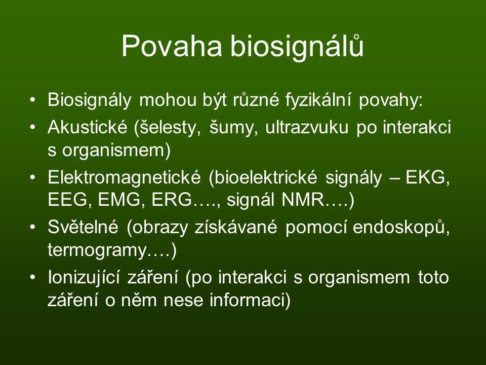Povaha biosignálů Biosignály mohou být různé fyzikální povahy: Akustické (šelesty, šumy, ultrazvuku po interakci s organismem) Elektromagnetické (bioe