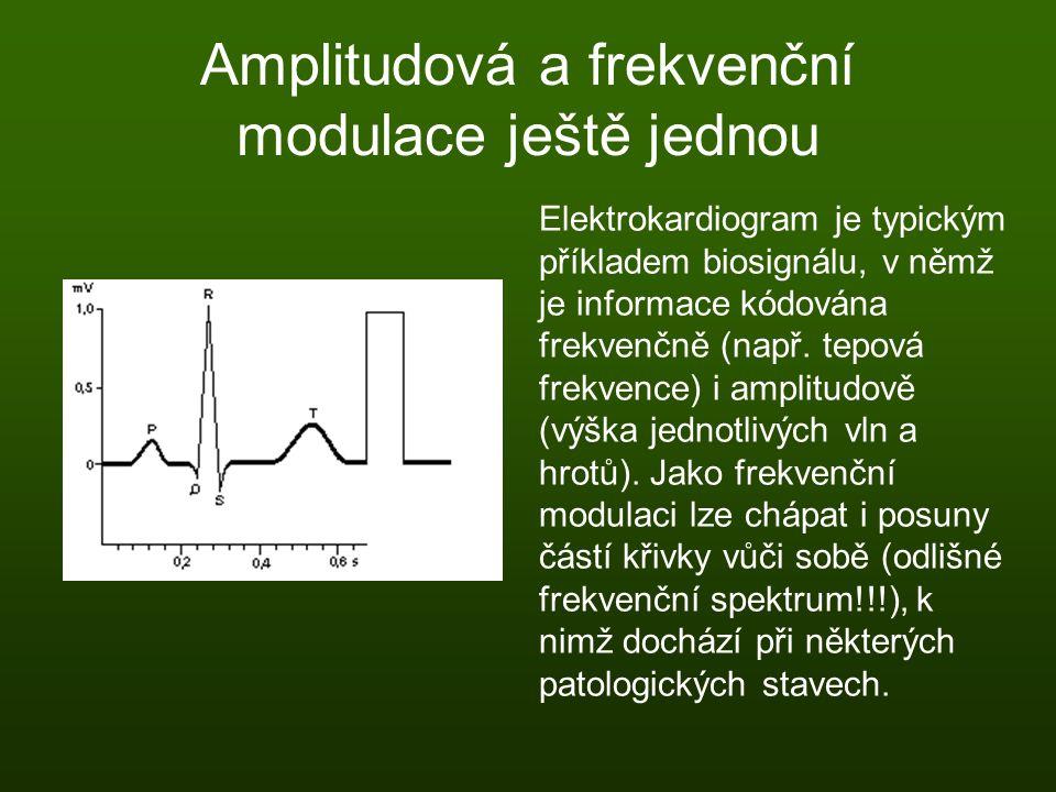 Amplitudová a frekvenční modulace ještě jednou Elektrokardiogram je typickým příkladem biosignálu, v němž je informace kódována frekvenčně (např. tepo