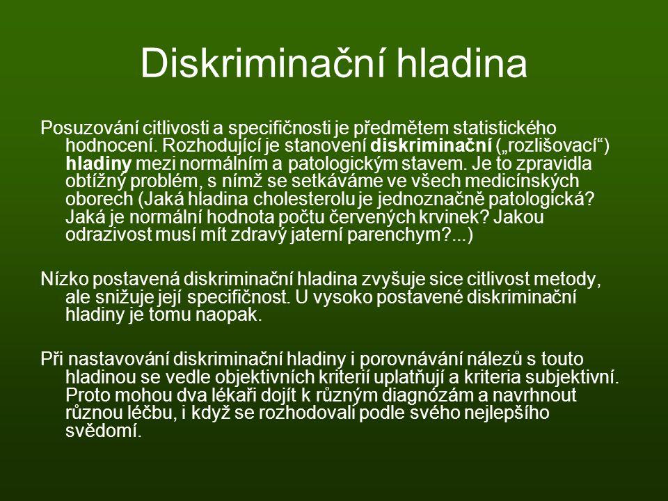 """Diskriminační hladina Posuzování citlivosti a specifičnosti je předmětem statistického hodnocení. Rozhodující je stanovení diskriminační (""""rozlišovací"""