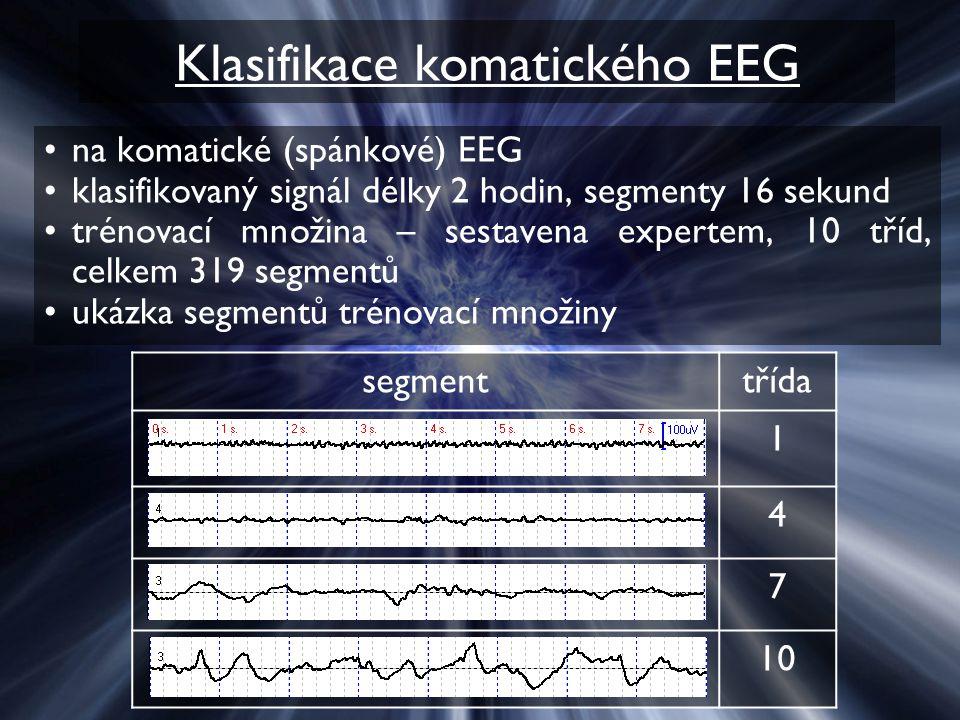 Klasifikace komatického EEG na komatické (spánkové) EEG klasifikovaný signál délky 2 hodin, segmenty 16 sekund trénovací množina – sestavena expertem,