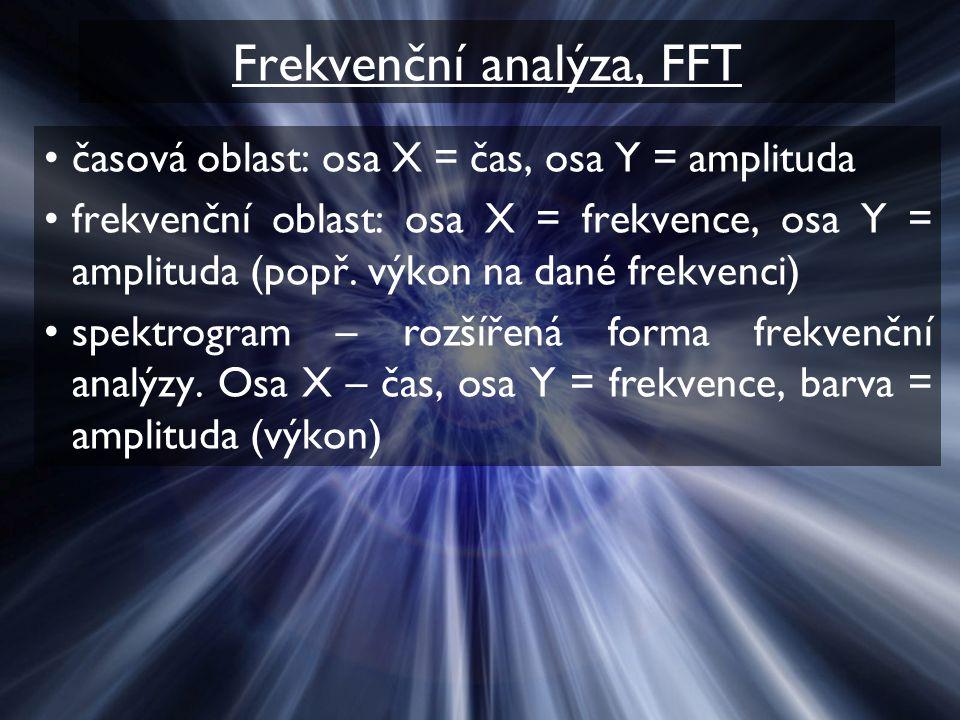 Frekvenční analýza, FFT časová oblast: osa X = čas, osa Y = amplituda frekvenční oblast: osa X = frekvence, osa Y = amplituda (popř. výkon na dané fre