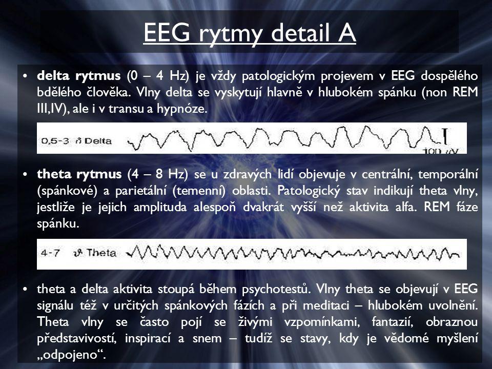EEG rytmy detail A delta rytmus (0 – 4 Hz) je vždy patologickým projevem v EEG dospělého bdělého člověka. Vlny delta se vyskytují hlavně v hlubokém sp