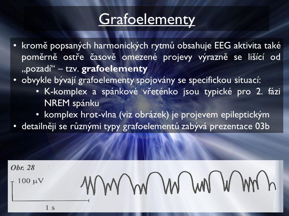"""Grafoelementy kromě popsaných harmonických rytmů obsahuje EEG aktivita také poměrně ostře časově omezené projevy výrazně se lišící od """"pozadí"""" – tzv."""