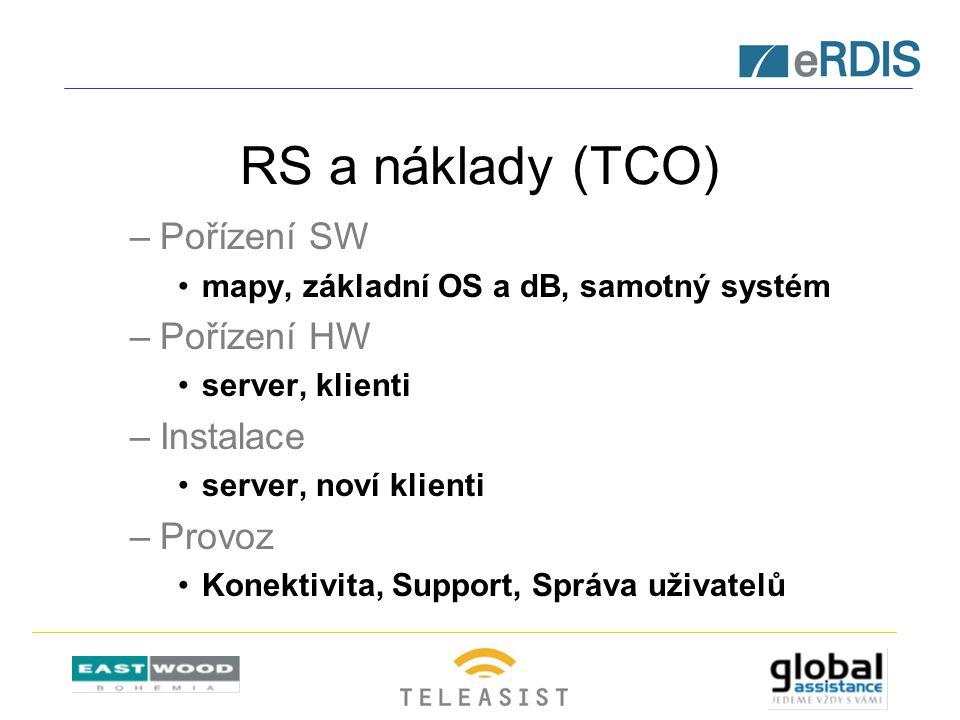RS a náklady (TCO) –Pořízení SW mapy, základní OS a dB, samotný systém –Pořízení HW server, klienti –Instalace server, noví klienti –Provoz Konektivit