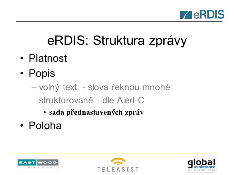 eRDIS: Struktura zprávy Platnost Popis –volný text - slova řeknou mnohé –strukturovaně - dle Alert-C sada přednastavených zpráv Poloha