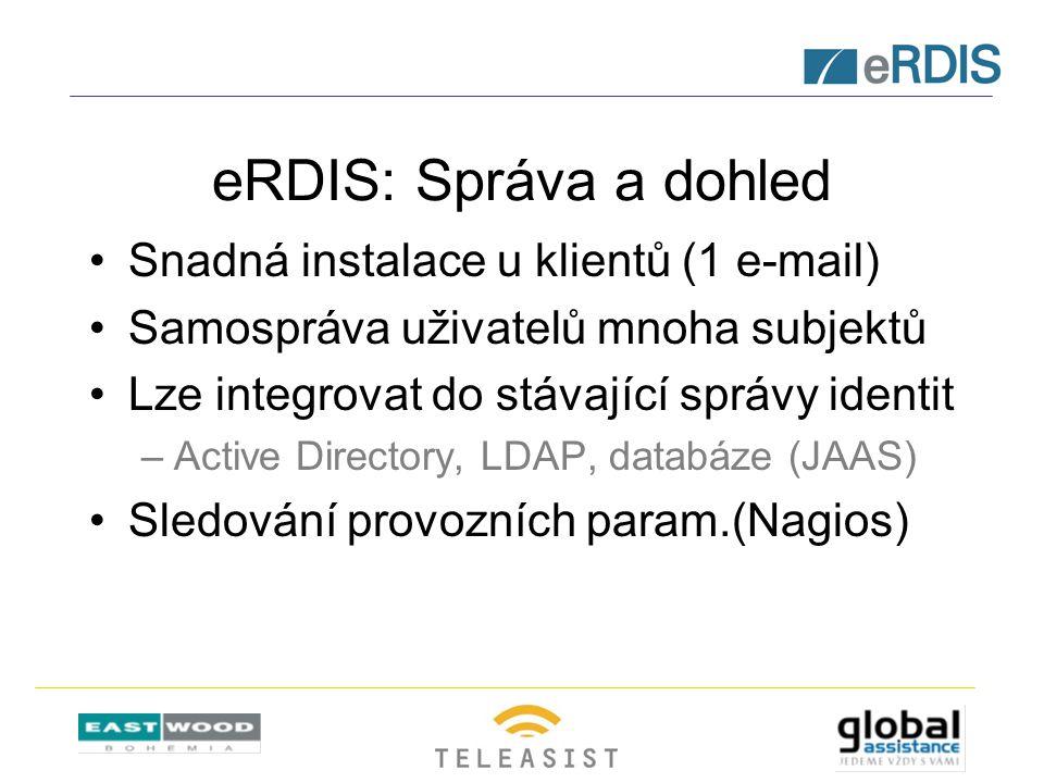 eRDIS: Správa a dohled Snadná instalace u klientů (1 e-mail) Samospráva uživatelů mnoha subjektů Lze integrovat do stávající správy identit –Active Directory, LDAP, databáze (JAAS) Sledování provozních param.(Nagios)
