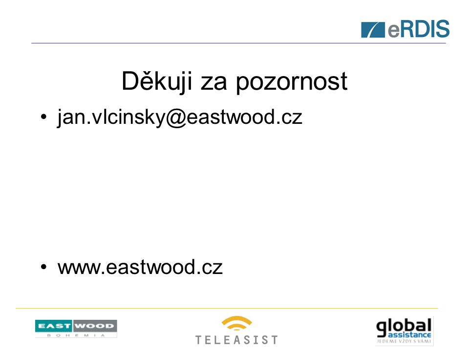 Děkuji za pozornost jan.vlcinsky@eastwood.cz www.eastwood.cz
