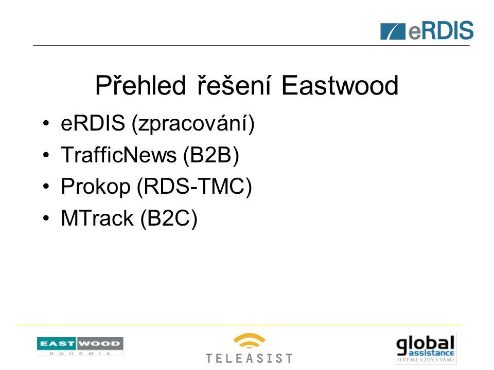 Přehled řešení Eastwood eRDIS (zpracování) TrafficNews (B2B) Prokop (RDS-TMC) MTrack (B2C)