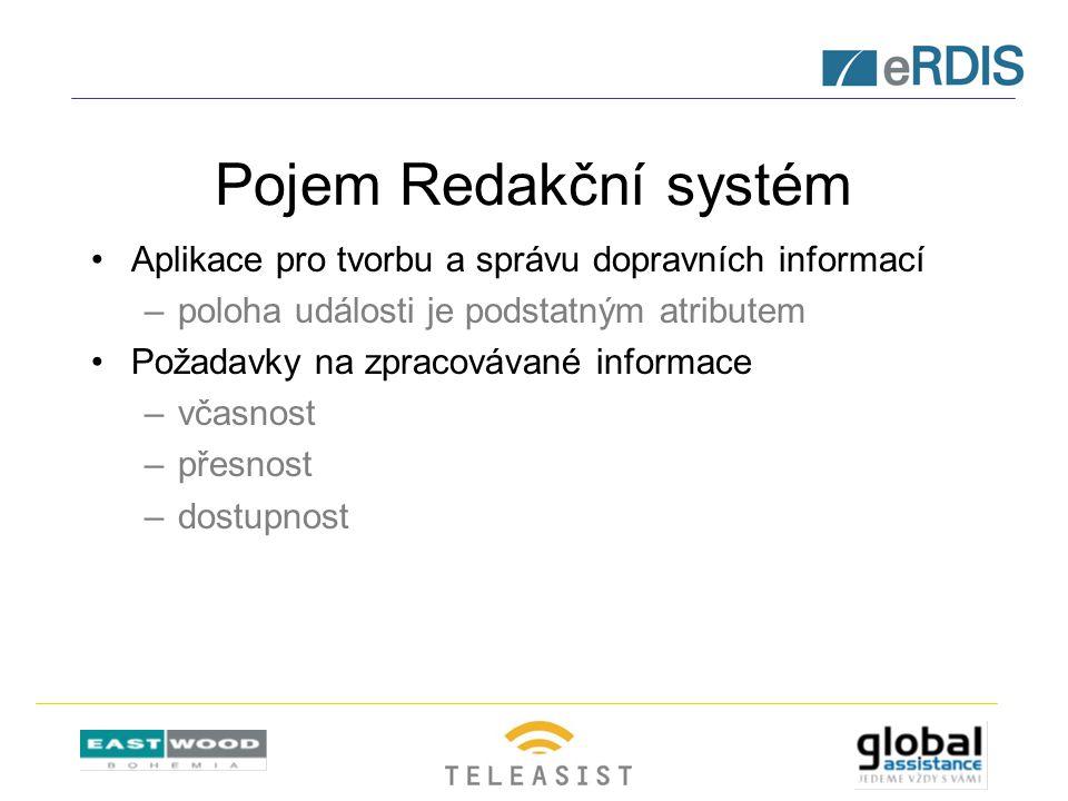 Pojem Redakční systém Aplikace pro tvorbu a správu dopravních informací –poloha události je podstatným atributem Požadavky na zpracovávané informace –včasnost –přesnost –dostupnost