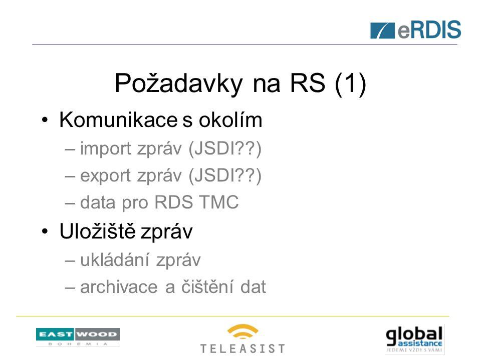Požadavky na RS (1) Komunikace s okolím –import zpráv (JSDI??) –export zpráv (JSDI??) –data pro RDS TMC Uložiště zpráv –ukládání zpráv –archivace a čištění dat