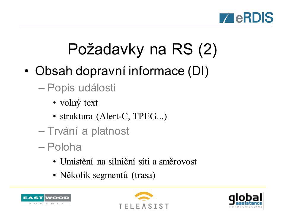Požadavky na RS (2) Obsah dopravní informace (DI) –Popis události volný text struktura (Alert-C, TPEG...) –Trvání a platnost –Poloha Umístění na silniční síti a směrovost Několik segmentů (trasa)