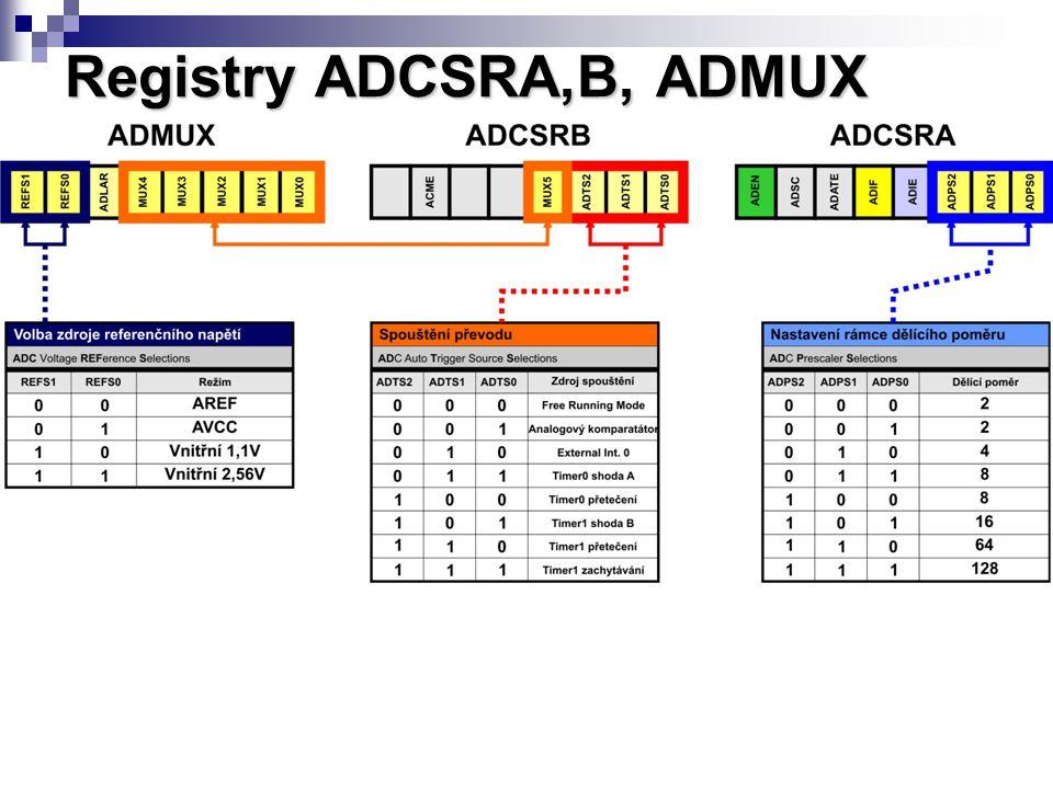Registry ADCSRA,B, ADMUX