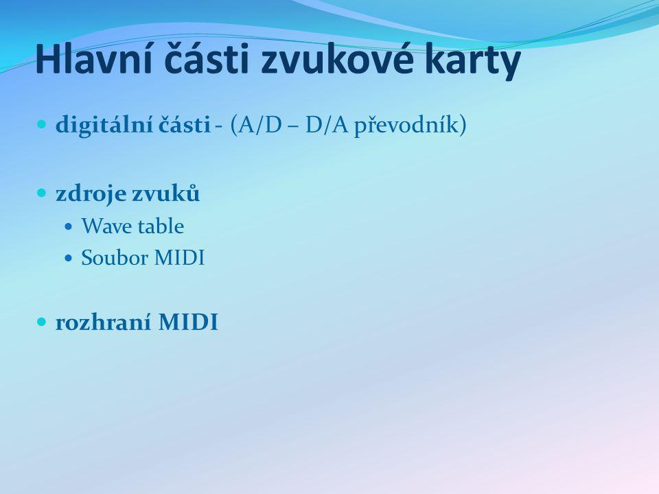 Hlavní části zvukové karty digitální části - (A/D – D/A převodník) zdroje zvuků Wave table Soubor MIDI rozhraní MIDI