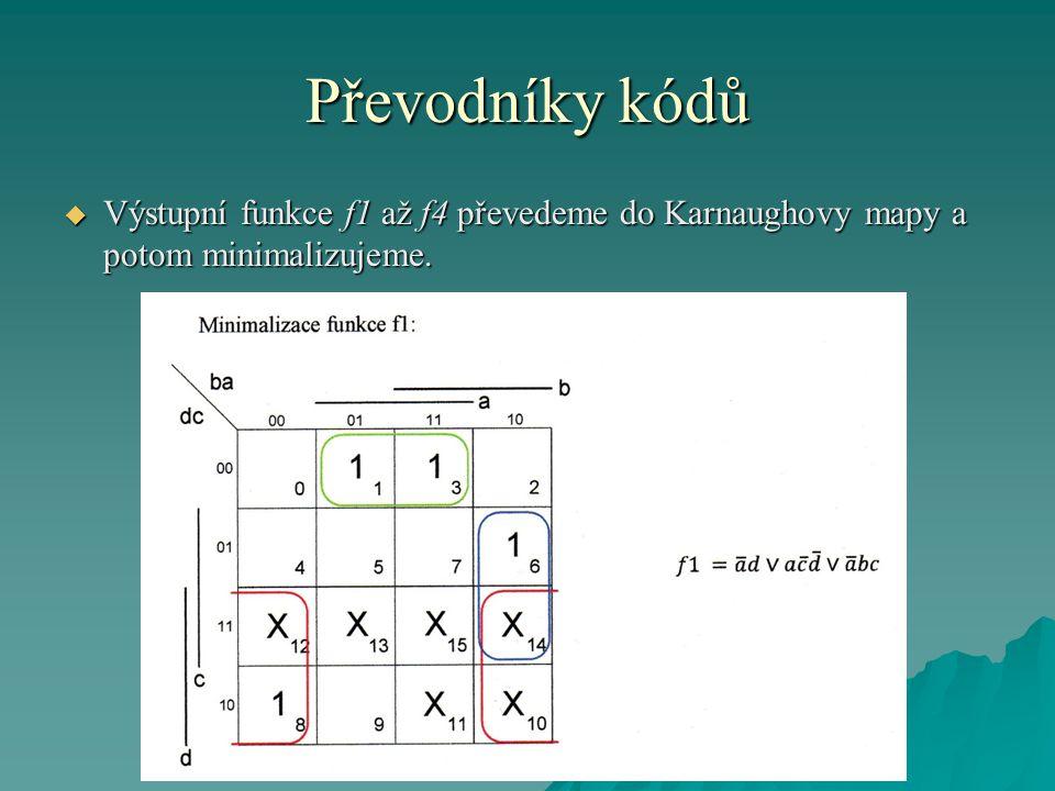 Převodníky kódů  Výstupní funkce f1 až f4 převedeme do Karnaughovy mapy a potom minimalizujeme.