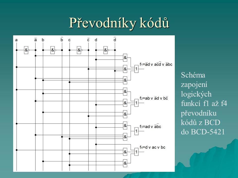 Převodníky kódů Schéma zapojení logických funkcí f1 až f4 převodníku kódů z BCD do BCD-5421