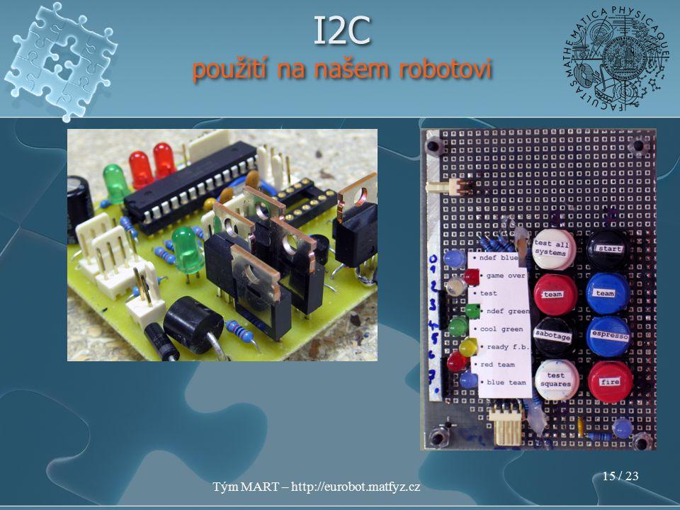 Tým MART – http://eurobot.matfyz.cz 14 / 23 I2C použití na našem robotovi