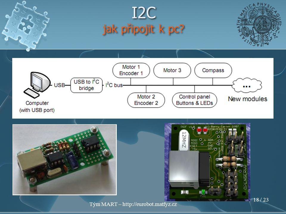 Tým MART – http://eurobot.matfyz.cz 17 / 23 I2C jak připojit k pc