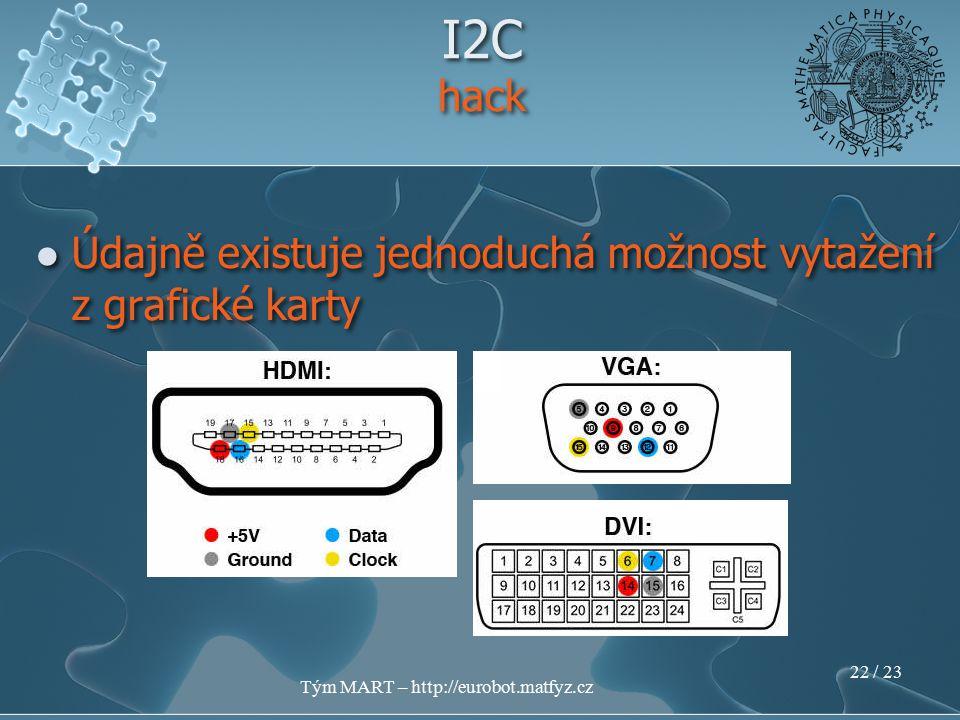 Tým MART – http://eurobot.matfyz.cz 21 / 23 I2C Kde získat další informace v češtině http://www.dhservis.cz/iic.htm v angličtině http://www.headfuzz.co.uk/?q=USBtoI2C http://www.openservo.com/ http://harbaum.org/till/i2c_tiny_usb/index.shtml http://www.instructables.com/id/Worlds- Cheapest-I2C-I-Squared-C-Adapter Kde získat další informace v češtině http://www.dhservis.cz/iic.htm v angličtině http://www.headfuzz.co.uk/?q=USBtoI2C http://www.openservo.com/ http://harbaum.org/till/i2c_tiny_usb/index.shtml http://www.instructables.com/id/Worlds- Cheapest-I2C-I-Squared-C-Adapter